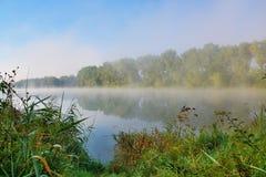 Lake in morning fog Stock Image