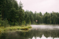 Lake in the morning fog Royalty Free Stock Images