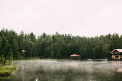 Lake in the morning fog Royalty Free Stock Photography