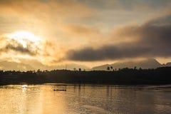 The lake at morning fog Royalty Free Stock Photos
