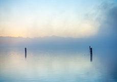 Lake in morning mist Royalty Free Stock Photography