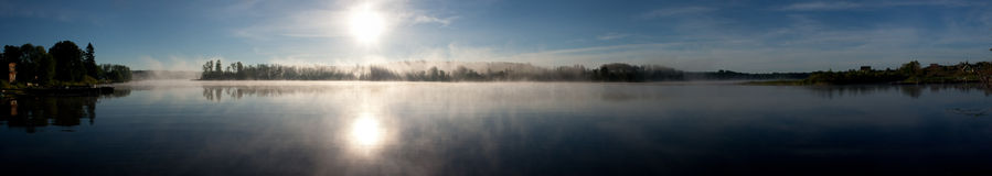Lake morning sunrise panorama Stock Image