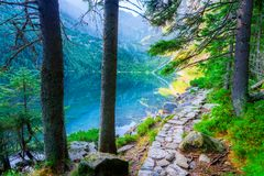 Lake Morskie Oko in the Tatras and the trail Royalty Free Stock Photography