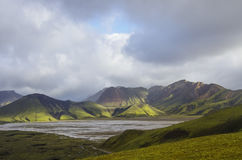Lake and moss-covered volcanic mountains. Landmannalaugar. Icela. Nd Royalty Free Stock Photos