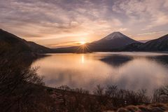 Lake Motosu and Mount Fuji. At early morning in winter season. Lake Motosu is the westernmost of the Fuji Five Lakes and located in southern Yamanashi stock image