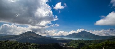 Lake and Mount Batur Royalty Free Stock Images