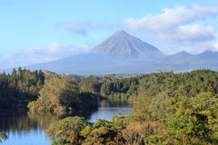 Lake and mount Taranaki landscape stock photos