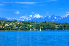 Lake and Mountain. Mount Blanc and the French Alps and a summer day on Lake Geneva Royalty Free Stock Photography