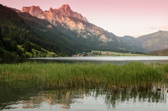 Lake and mountain with afterglow Royalty Free Stock Photo