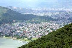 Lake, Mountain and city of Pokhara Royalty Free Stock Photography
