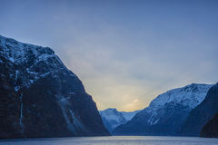Lake and mountain. Flam amazing mountain in Norway Stock Photo