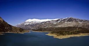 Lake and mountain, Fokida, Greece. Lake Mornos and Giona mountain, Fokida, Greece stock photos