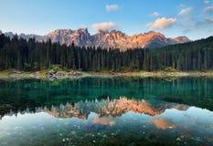 Lake with mountain forest landscape, Lago di Carezza Stock Photos