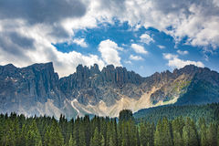 Lake with mountain forest landscape, Lago di Carezza Royalty Free Stock Images