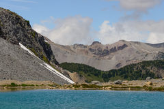Lake, mountain and forest in Mount Rainier National Park Stock Photo