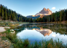 Lake mountain landcape with Alps  peak reflection, Lago Antorno, Royalty Free Stock Photography