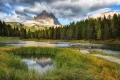 Lago Antorno, Dolomites Royalty Free Stock Photography