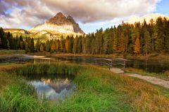 Lake mountain landcape with Alps peak reflection Royalty Free Stock Images