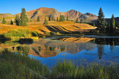 Lake and mountain landscape. Beaver Pond in Colorado next to Irwin Lake. Mountain and water reflection Fall landscape royalty free stock images