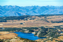 Lake and Mountain Landscape. Dramatic landscape with a lake and Beartooth Mountain Range in Montana and Wyoming Stock Photo