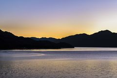 Lake and Mountain Landscape, Patagonia, Chile Royalty Free Stock Photography