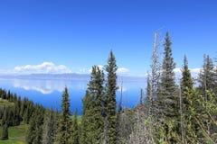 Lake and mountain landscape under blue sky Stock Photo