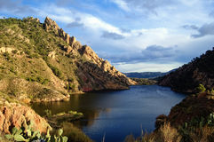 Lake in the mountain, little dam royalty free stock photos