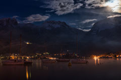 Lake and mountain night Stock Image