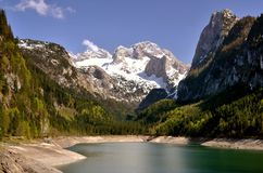 Lake in mountains. Picturesque green lake in mountains royalty free stock image