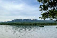 Lake and mountain range Zyuratkul Royalty Free Stock Photos