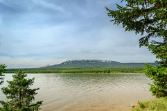 Lake and mountain range Zyuratkul, Southern Urals Stock Image