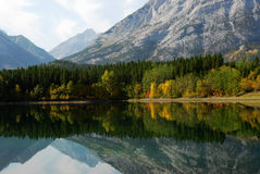 Lake and mountain reflection. Autumn view of lake and mountain reflections in wedge pond, kananaskis country, alberta, canada Stock Photo