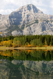 Lake and mountain reflection. Autumn view of lake and mountain reflections in wedge pond, kananaskis country, alberta, canada Stock Image