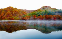 Lake and mountain reflections. Autumn view of lake and mountain reflections in wedge pond Royalty Free Stock Photography