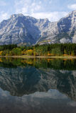 Lake and mountain reflections. Autumn view of lake and mountain reflections in wedge pond, kananaskis country, alberta, canada Royalty Free Stock Photos