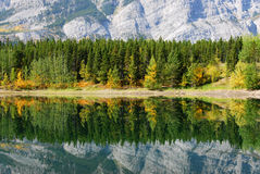 Lake and mountain reflections. Autumn view of lake and mountain reflections in wedge pond, kananaskis country, alberta, canada Stock Photography
