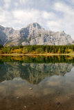 Lake and mountain reflections. Autumn view of lake and mountain reflections in wedge pond, kananaskis country, alberta, canada Royalty Free Stock Photo