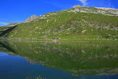 Lake with mountain reflections. Lake in front of a wonderful mountain scenery Royalty Free Stock Photography