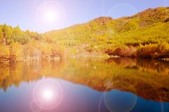 Lake and mountain reflections. Autumn view of lake and mountain reflections Royalty Free Stock Photo