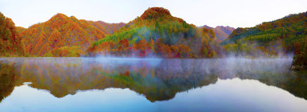 Lake and mountain reflections. Autumn view of lake and mountain reflections in wedge pond Stock Image