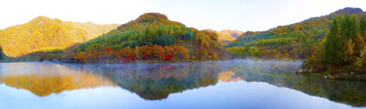 Lake and mountain reflections. Autumn view of lake and mountain reflections in wedge pond Royalty Free Stock Photo