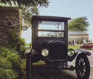 Old car park outside Lake on the Mountain resort inn. In Prince Edward County royalty free stock photos