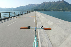 Lake, mountain and retro mint green bicycle Stock Image