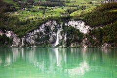 Lake in the mountain in Switzerland. Stock Photo