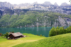 Lake in the mountain in Switzerland. Royalty Free Stock Photography