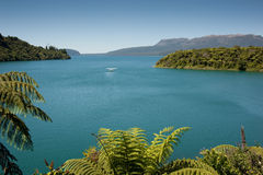 Lake & Mountain - Tarawera. MW: A floatplane idles out on Lake Tarawera near Rotorua, New Zealand. In the background is the volcanic Mount Tarawera and the lake Royalty Free Stock Image
