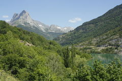 Lake and mountain in Tena valley, Pyrenees Stock Photo