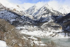 Lake and mountain in Tena valley, Pyrenees Royalty Free Stock Image