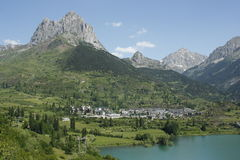 Lake and mountain in Tena valley, Sallent Pyrenees Royalty Free Stock Photography