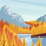 Lake in mountain valley, vector fall illustration. Autumn landscape background. Outdoor travel concept. Lake in mountain valley, vector fall illustration Stock Illustration